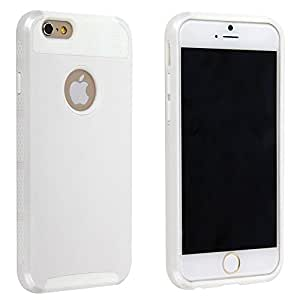 niceeshop White Brand New 2 in 1 Silicone PC Case Cover for iPhone 6 (4.7 Inch) With Screen Protector(3pcs)