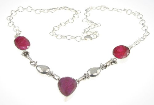 925 Sterling Silver Created RUBY Necklace, 17.25