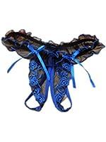 Demarkt®Sexy String Ouvert en Voile Detelle avec Noeud a Deux Boucles pour les Femmes/Couleur- Bleu/Taille-Unique