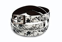 Women white flower print belt