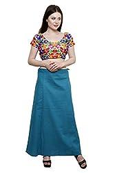 Pistaa Women's Cotton Dark Rama Colour Best Ethinic Inskirt Saree petticoats