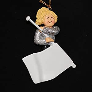 Flag Girl: Female, Brown Personalized Christmas Ornament