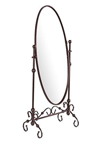 Kings Brand Furniture Metal Cheval Standing Floor Mirror, Antique Brown 1