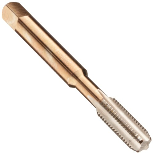 "Dormer E071 High-Speed Steel Straight Flute Tap, Gold Oxide Finish, Round Shank With Square End, Bottoming Chamfer, 1/4""-28 Thread Size"