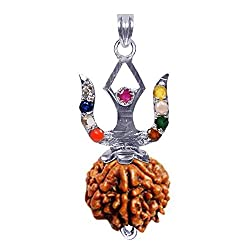 Shiva Rudraksha Ratna 6 Face Navratna�Rudraksha Pendant 925 Sterling Silver