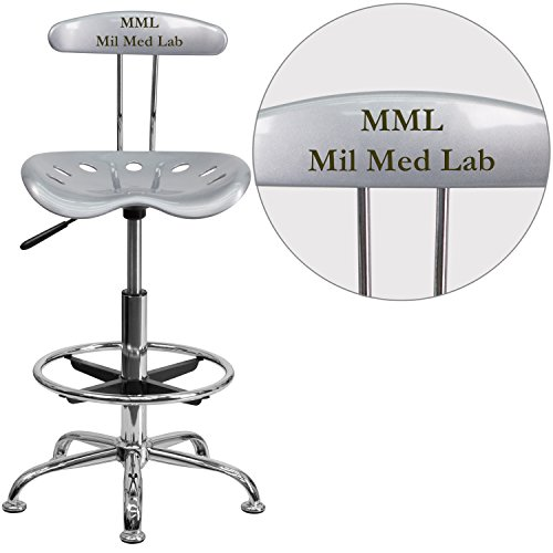 "Personalized Vibrant And Drafting Stool With Tractor Seat Silver/Chrome/20""L x 17.25""W x 41""H"