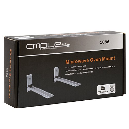 Cmple - NEW Microwave Oven/AV Component Wall Mount Bracket (Max weight 77lbs)-Silver