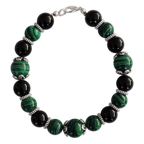 "Pearlz Ocean Black AgateMosaic Gemstone Beads 7.5"" Clasp Bracelet"