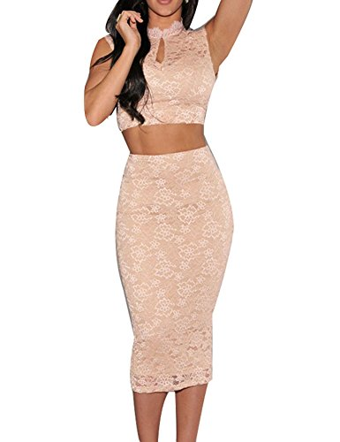Sexy Women'S Nude Lace Sleeveless Scoop Back Midi Skirt Set Bodycon Mini Dress (L, Nude)