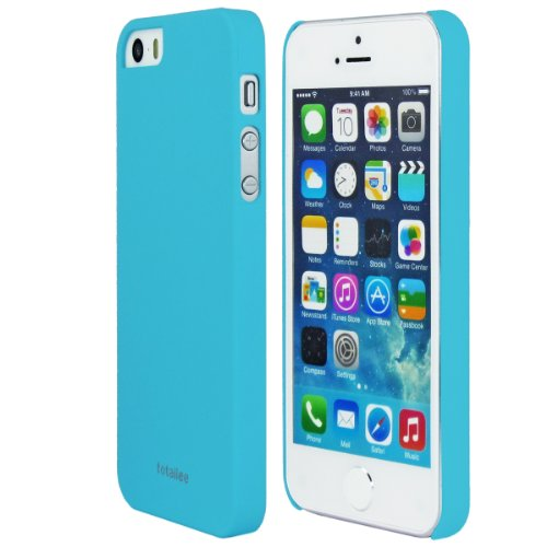 TOTALLEE Slim Skin iPhone 5 / 5S Snap On Hard Shell Case Comfort Grip (Cyan Blue)