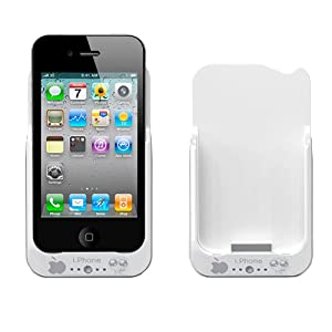 GSI Super Quality External 2000mAh Battery Pack Power Station Bank For Apple iPhone 3G/3GS With Protective Back Cover - USB Interface - For Travel Or Home Use - White