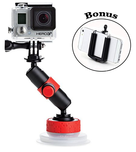 Joby Action Camera Suction Cup & Locking Arm for Contour and Sony Action Cameras and GoPro HD HERO2, HD Hero3, HD Hero4, HERO4 Session, HD Helmet HERO, HD Motorsports HERO, HD Surf HERO, HD Hero Naked, and a Bonus Ivation Universal Smartphone Tripod Mount Adapter