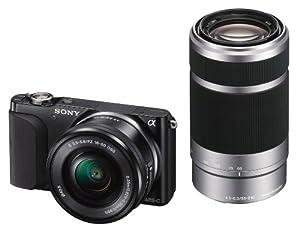 Sony NEX-3NYB Systemkamera (16,1 Megapixel, 7,5 cm (3 Zoll) LCD-Display, Full-HD, HDMI, USB 2.0) inkl. SEL-P 16-50mm & SEL-55-210mm Objektiv schwarz