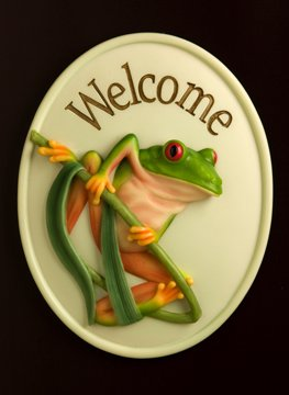 Tree Frog Welcome Plaque