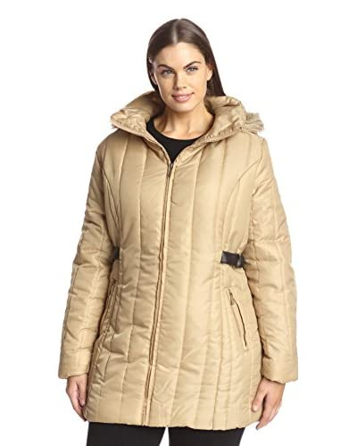 Yoki Plus Women's Quilted Puffer Jacket with Faux Fur