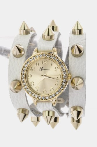 Chic Chelsea Studded Wrap Watch (White/Gold)