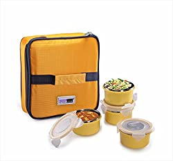 Steel Lock Dual 2204 Steel Airtight Lunch pack, 200 ml, Yellow, Set of 4