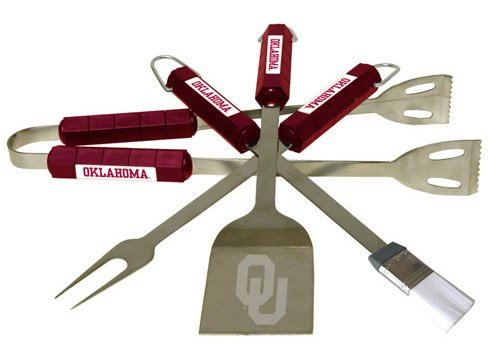 Bsi Products Home Garden Patio Lawn Outdoor Kitchen Grills Accessories Oklahoma Sooners Ncaa Sports Team Logo 4 Pc BBQ Set