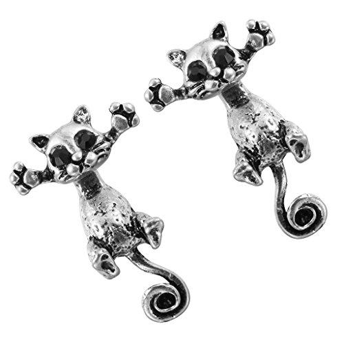 e45a9a4c5b30 1Pairs encantadores 3d de falsa único gato pendientes de Animal de plata  antiguo