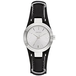 DKNY Sasha Black Leather Cuff Women's watch #NY8750