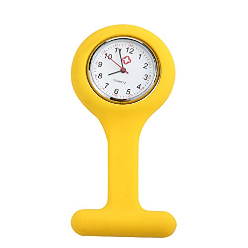 Dayan Nurses Brooch Silicone Rubber Tunic Watch Yellow