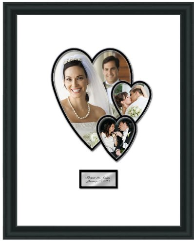 Wedding Signature 16 X 20 Picture Frame With Photo Heart Collage - Overall Frame Size 19W X 23H - Premium Wood Satin Rich Black - Gold Or Silver Engraved Plate Calligraphy Font - Top Mat White Inner Mat Black - Retirement Baby Shower Anniversary Signature front-14399