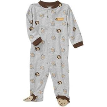 Carters Child of Mine Boys Monkey Print Sleep n Play Jumpsuit (0-3 Months)