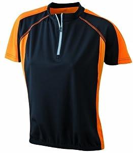 James & Nicholson Damen Bike T-shirt, black/orange, S, JN419 blor