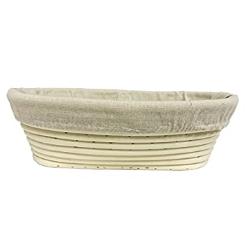 Agile-Shop Oval Long Banneton Brotform Bread Dough Proofing Rising Rattan Handmade Basket & Liner (10)