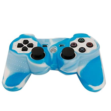 Silicone Protective Skin Case for PS3 Controller Blue-White