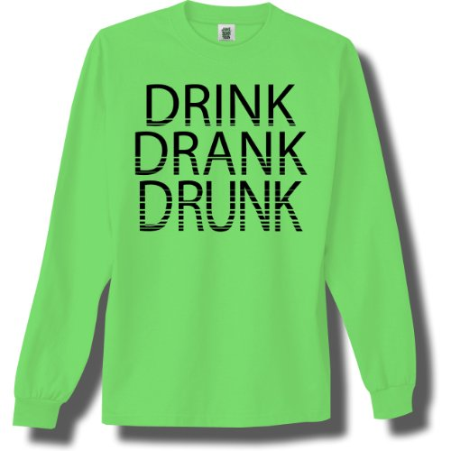Drink,Drank,Drunk Bright Neon Green Adult Long Sleeve T-Shirt - Small