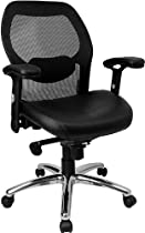 Hot Sale Flash Furniture LF-W42-L-GG Mid-Back Super Mesh Office Chair with Black Italian Leather Seat and Knee Tilt Control