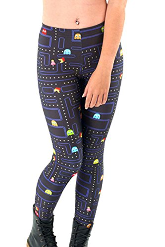 COCOLEGGINGS Cute Girls Pacman Game Cartoon Printing Summer Breathable Leggings
