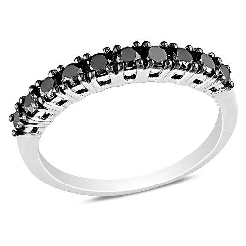 Sterling Silver 1/2 CT TDW Black Diamond Eternity Ring