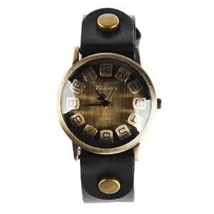 Yesurprise Montre quartz Vintage Bracelet en cuir Classique Bronze Saillant cadran 6 couleurs 7018-1