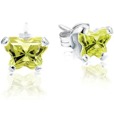 Jewelry Locker Bfly(tm) Sterling Silver and CZ August Birthstone Teen Earrings