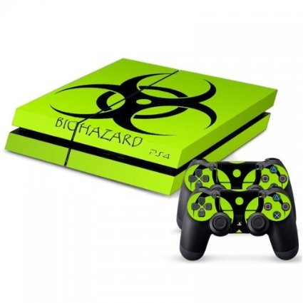 MightyStickers-PS4-Console-Designer-Protective-Vinyl-Skin-Decal-Cover-for-Sony-PlayStation-4-Remote-DualShock-4-Wireless-Controller-Stickers-Green-Light-Biohazard-Symbol