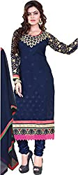 Cool women's Georgette Embroderied Unstitched Dress Material -1026_Blue_Freesize