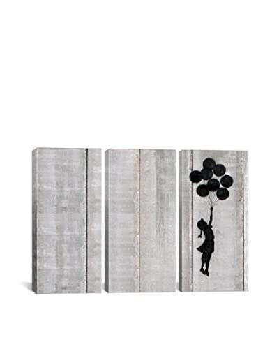 Banksy Flying Balloons Girl Gallery Wrapped Canvas Print, Triptych