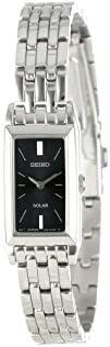 Seiko Womens SUP043 Stainless Steel and Black Dial Baguette