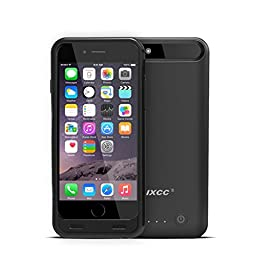iXCC 3100mah External Battery Backup Charging Case for Apple iPhone 6, 6s with Micro USB Input Mode - MFI Certified - Black