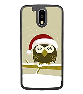 Cute Owl with Santa Cap 2D Hard Polycarbonate Designer Back Case Cover for Motorola Moto G4 Plus :: Moto G4+