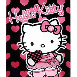 Sanrio Hello Kitty Large Heart Fleece Throw Twin Bed Blanket