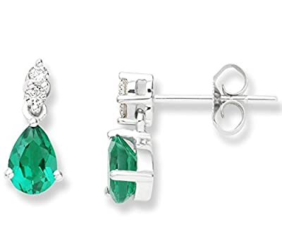 Miore UNI007EW 9 ct White Gold 0.08 ct Diamond and Created Emerald Drops Earrings