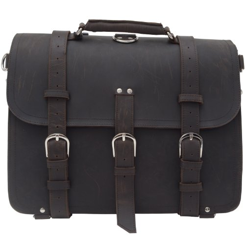 "Infononline 100% Crazy Horse Handmade Leather Men'S Briefcase Backpack Laptop Bag Travel Huge Leather Briefcase 16.5"",M71"