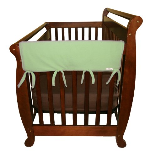 Trend Lab Fleece Cribwrap Rail Covers For Crib Sides (Set Of 2), Sage Green, Wide front-1065330