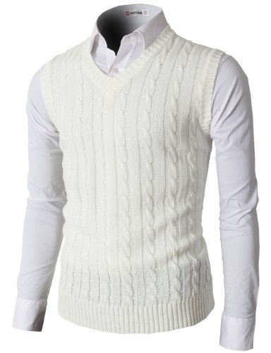 H2H Mens Knitted V-neck Vest With Twisted Pattered IVORY US L/Asia XL (KMOV037)