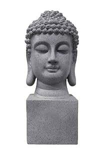 Déco Zen & Feng Shui - Tête de Bouddha gris anthracite intérieur/Extérieur