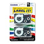Casio Tape Cassettes For Kl Label Makers, 18Mm X 26Ft, Blue On White, 2/Pack