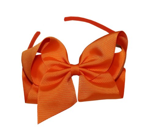 Webb Direct 2U Girls Large Grosgrain Tied Bow Headband Orange (1030) front-732740